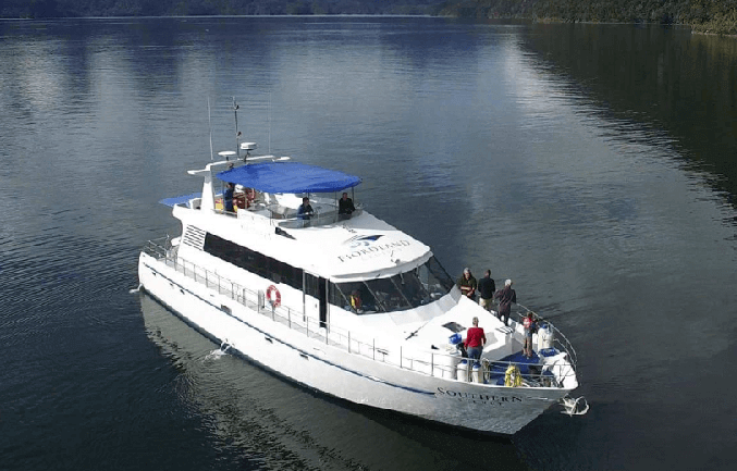 Aerial view of Fiordland Cruise's vessel, the MV Southern Secret