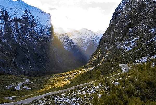 Milford Road winding down the Cleddau valley through mountainous region